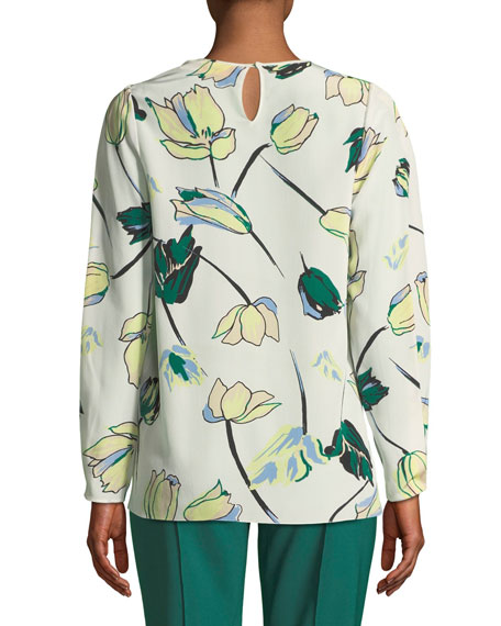 Floral Silk Cinched-Sleeve Blouse