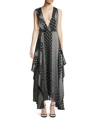 Draped Dot-Print Silk Maxi Dress