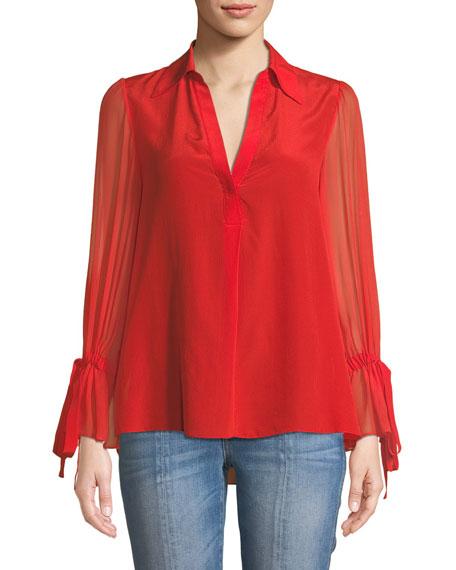 Geraldine Bow-Sleeve Collared Tunic