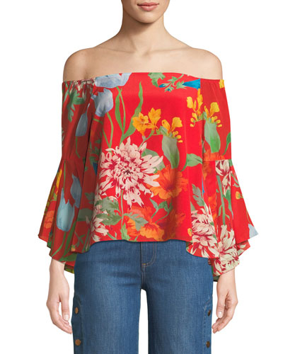 Shera Off-the-Shoulder Floral-Print Top