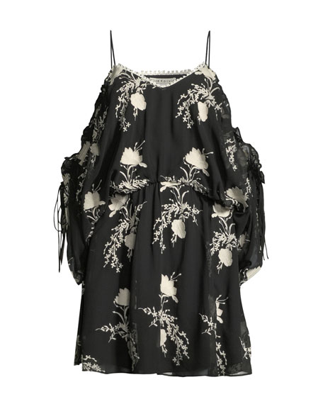 Holden Embroidered Cold-Shoulder Dress