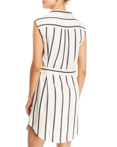 Payton Striped Button-Front Shirtdress