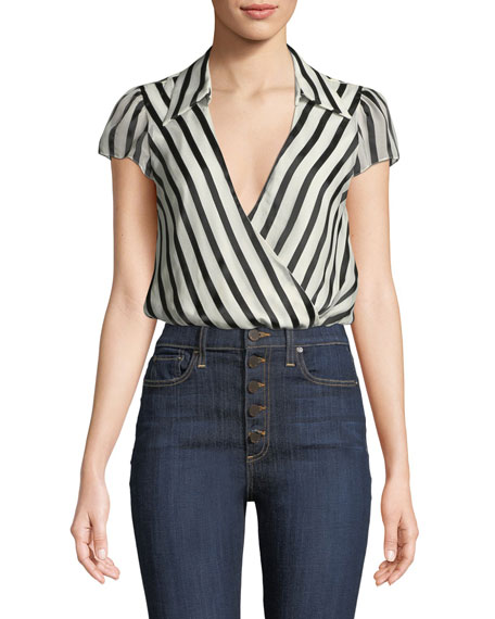 Dayer Collared Short-Sleeve Wrap Top