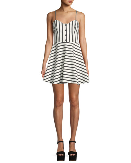 Nella Striped Button-Front Mini Dress