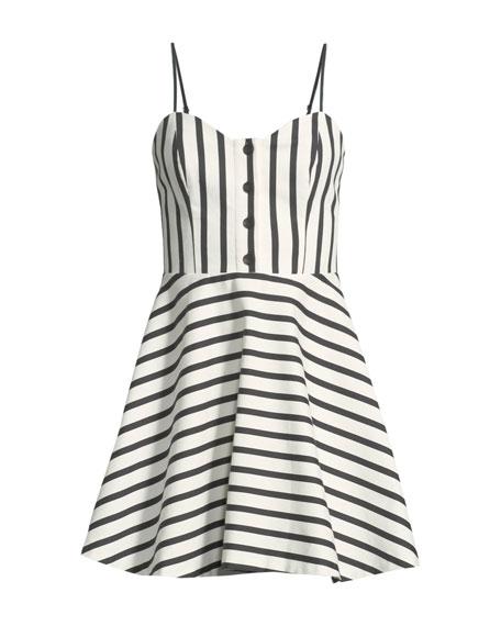 Nella Striped Button-Front Mini Dress
