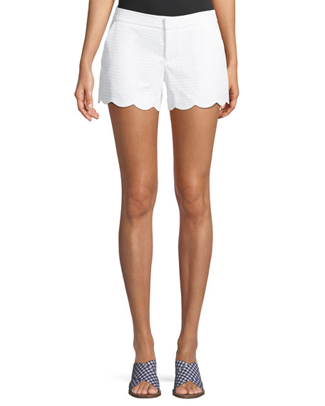 Club Monaco Amber Eyelet Scalloped Shorts