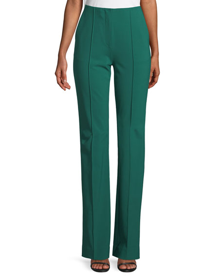 Woven Wool-Stretch Pleated Pants, Green