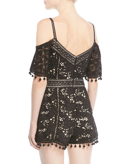 Drixa Cold-Shoulder Lace Romper