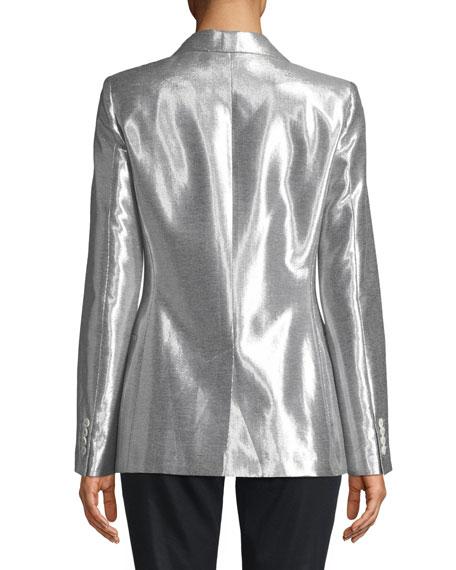 Metallic Button-Front Blazer