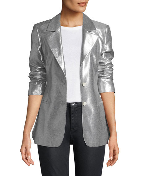 Metallic Button-Front Blazer