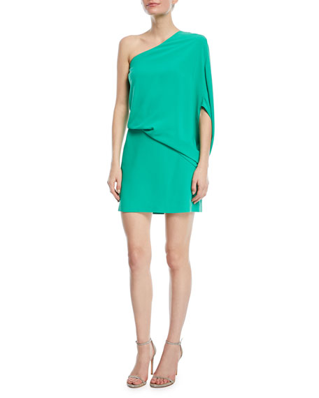 One-Sleeve Draped Cocktail Dress