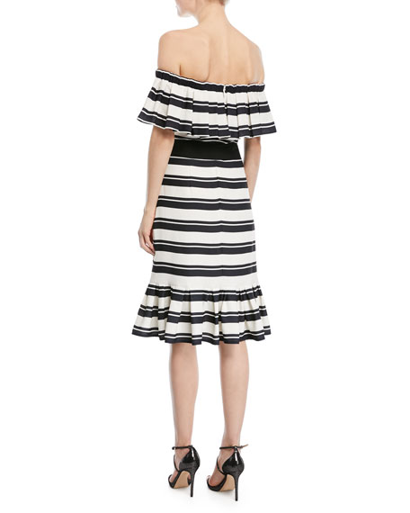 Off-the-Shoulder Striped Dress w/ Tie Waist
