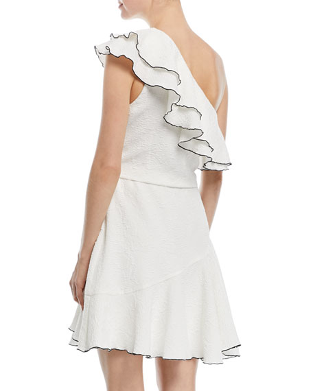 One-Shoulder Ruffle Mini Dress