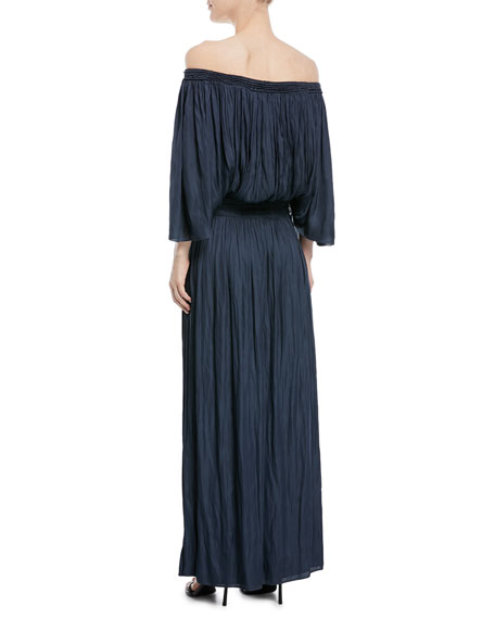 Flowy Off-the-Shoulder Smocked Gown