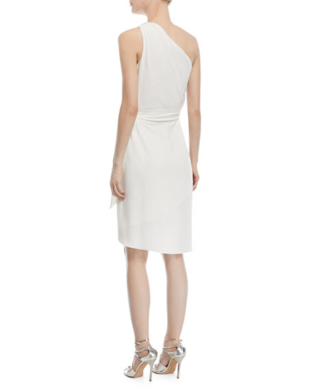 One-Shoulder Tie-Waist Cocktail Dress