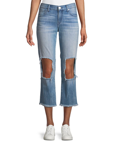 Starr Destroyed-Knee Zip-Cuff Jeans