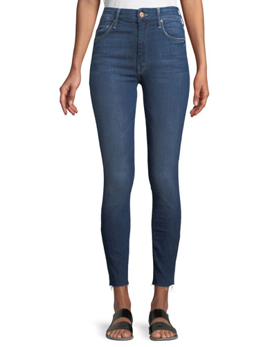 Looker High-Waist Frayed Ankle Skinny Jeans