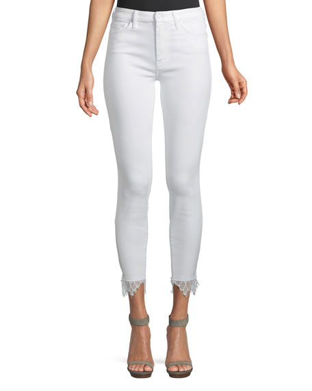 Mother Looker Dagger Lace Trim High-Waisted Jeans
