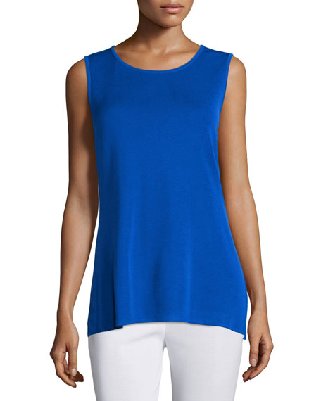 Crewneck Long Knit Tank Top, True Blue, Petite