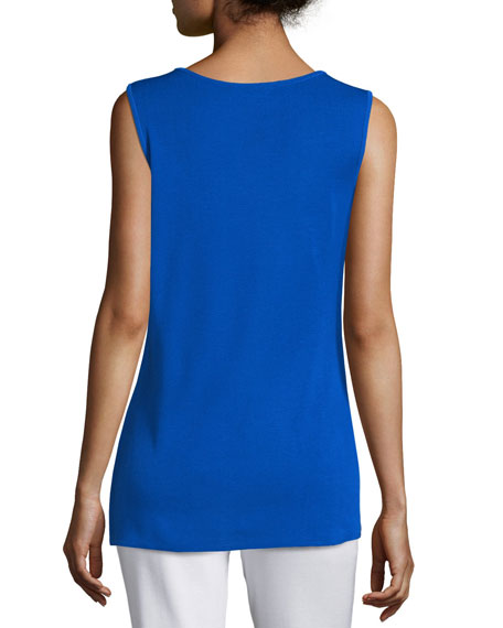 Crewneck Long Knit Tank Top, True Blue, Plus Size