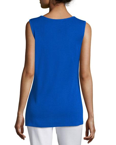 Crewneck Long Knit Tank Top, True Blue, Plus Size