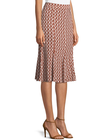 Jada Graphic-Print Matte Jersey Skirt