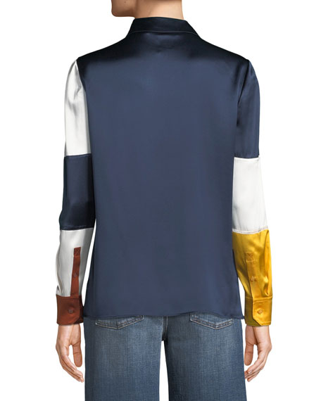 Reese Satin Colorblock Blouse