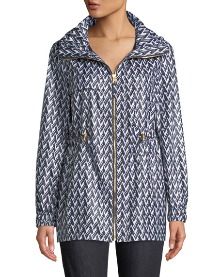 Eden T Lattice-Print Sport Rain Jacket