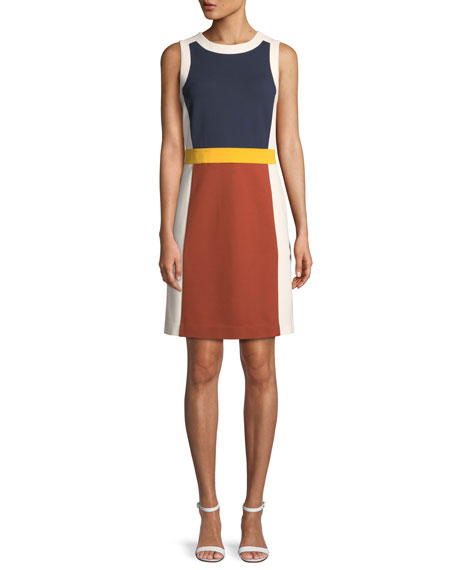 Mya Sleeveless Colorblock Ponte Dress, Desert Spice