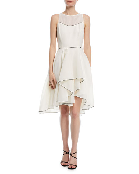 Halston Heritage Sleeveless Cocktail Dress w/ Dramatic Skirt