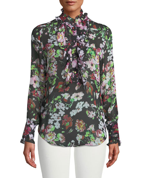 Equipment Samine Floral Symphony Georgette Blouse