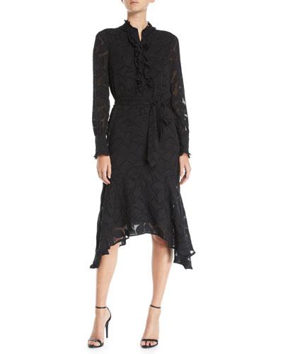 Palo Floral-Burnout Velvet Long-Sleeve Dress
