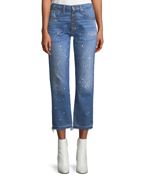Ines Straight-Leg Girlfriend-Style Jeans with Paint Splatter