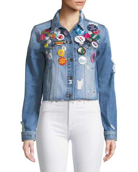 Cara Cropped Jean Jacket w/ Pins
