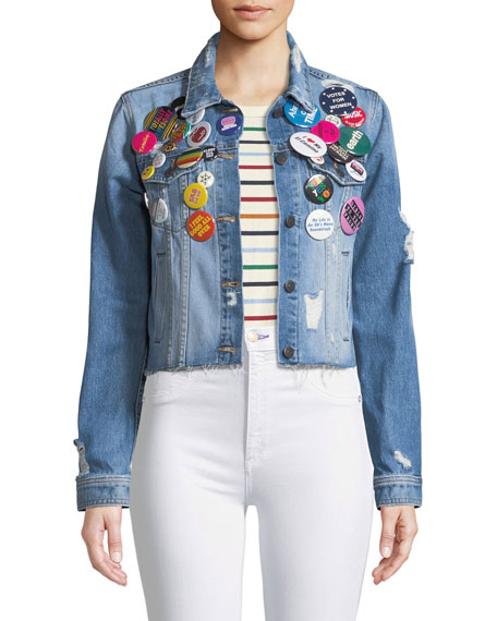 Veronica Beard Cara Cropped Jean Jacket w/ Pins