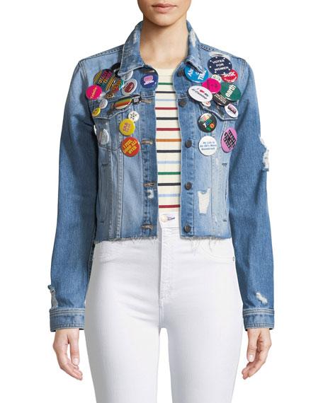 Cara Cropped Jean Jacket W/ Pins in Blue