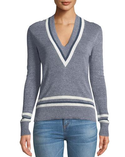 Walton V-Neck Long-Sleeve Melange Sweater