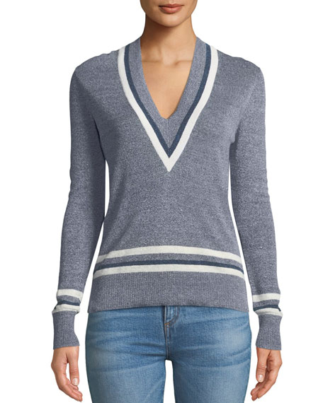 Walton V-Neck Long-Sleeve Melangé Sweater