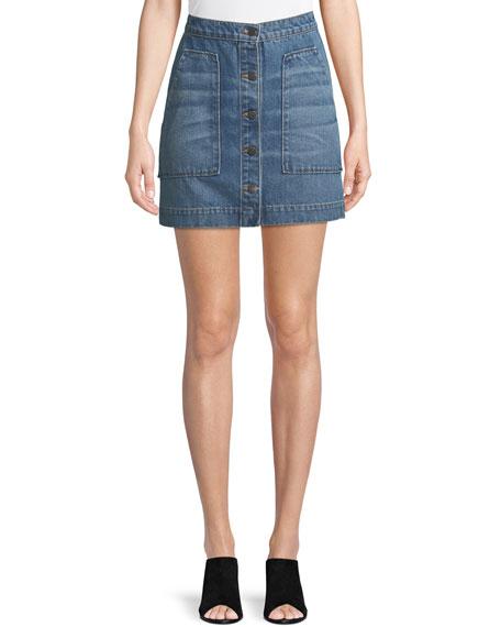 Getty Button-Front Denim Mini Skirt
