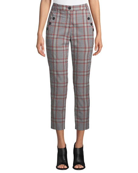 Farrow Button-Detail Plaid Pants