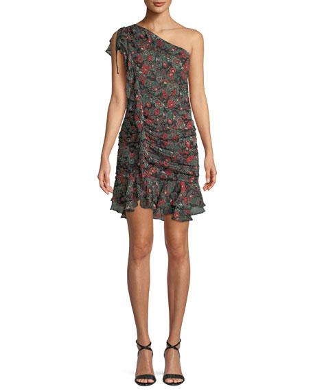 Ballard Printed Ruffle One-Shoulder Mini Dress
