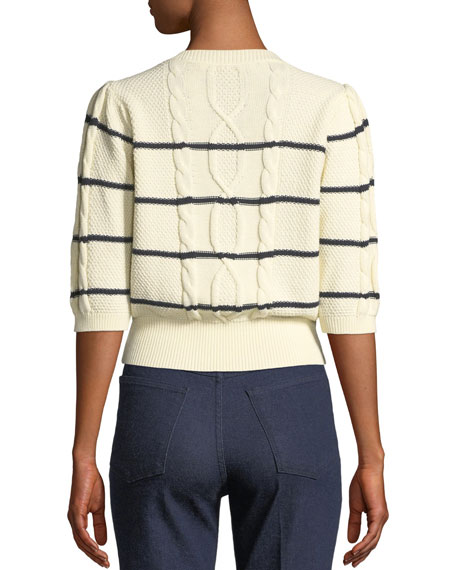 Moss Striped Cable-Knit Sweater