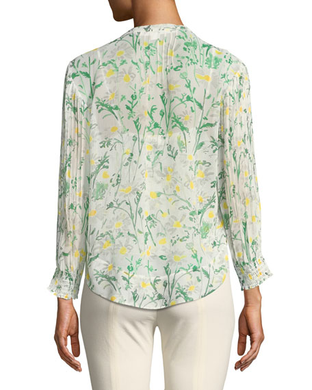 Walker Pintucked Silk Blouse