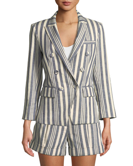Geneva Striped Double-Breasted Jacket