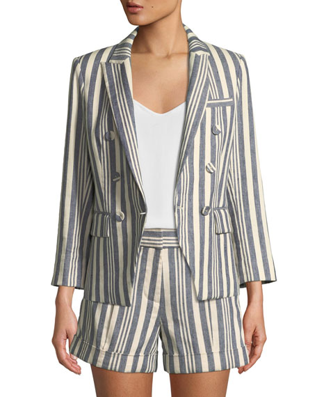 Veronica Beard Geneva Striped Double-Breasted Jacket
