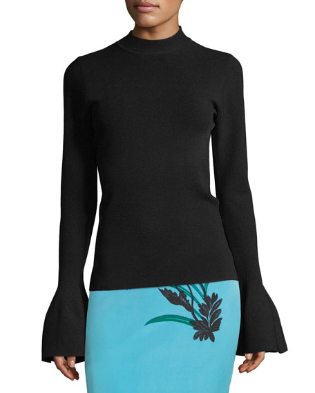 Flutter-Sleeve Mock-Neck Sweater