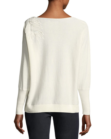 Cashmere-Blend Leaf-Embroidered Sweater