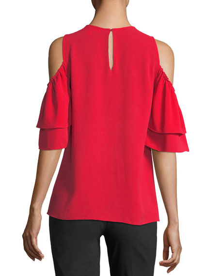 Cold-Shoulder Flounce-Sleeve Top
