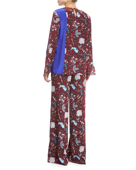 Floral-Print Side-Slit Silk Blouse