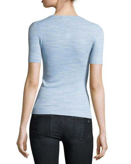 Crewneck Fitted Refine Merino Wool  Top